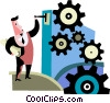 Man starting gears Vector Clipart illustration