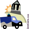 an ambulance driving past a bank Vector Clipart graphic