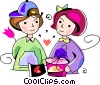 couple exchanging valentines day gifts Vector Clip Art image