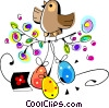 chicks with Easter eggs Vector Clip Art image