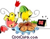 chicks with Easter eggs Vector Clipart picture
