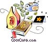 Vector Clipart image  of a Bible with wine and Dove of