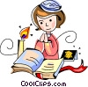 woman reading the bible Vector Clip Art picture