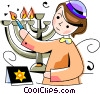 child lighting a menorah Vector Clipart illustration