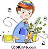 Vector Clip Art image  of a Jewish child