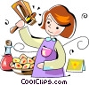 Vector Clip Art image  of a Jewish girl playing with a