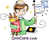 Vector Clip Art picture  of a Jewish girl with scrolls