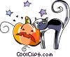 black cat and pumpkin Vector Clipart illustration