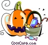pumpkin and candy Vector Clip Art picture