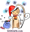Vector Clip Art image  of a Christmas cat resting with some candies