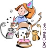 Vector Clip Art image  of a little girl celebrating her birthday