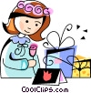 Vector Clip Art graphic  of a girl with gifts