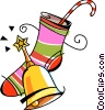 Vector Clipart graphic  of a Christmas stocking and bell