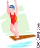 girl diver Vector Clip Art graphic
