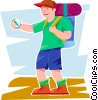 boy hiker looking at his compass Vector Clipart image