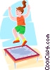 Vector Clip Art image  of a Girl jumping on a trampoline