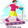 Vector Clip Art graphic  of a boy running on a treadmill