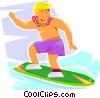 boy ridding a wave on his surfboard Vector Clipart illustration