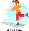 Girl playing hopscotch Vector Clipart illustration