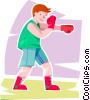Vector Clipart graphic  of a Boy shadow boxing
