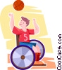 physically challenged boy playing basketball Vector Clip Art image