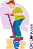 Vector Clip Art image  of a boy on a pogo stick