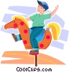 boy riding a toy horse at the park Vector Clip Art picture