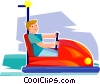 boy in a bumper car Vector Clip Art image