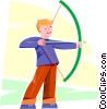 Vector Clip Art picture  of a young archer
