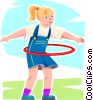 Vector Clipart illustration  of a girl playing with a hula hoop