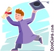 Vector Clip Art graphic  of a Boy excited at his graduation