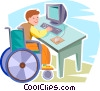 Vector Clip Art picture  of a boy working on his computer
