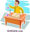young man performing a science experiment Vector Clipart graphic