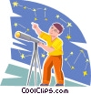 Vector Clip Art image  of a Young astronomer looking at