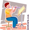Vector Clip Art graphic  of a student playing the flute