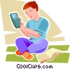 boy using his calculator Vector Clip Art image