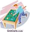 Boy playing pool Vector Clip Art picture