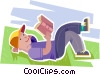 Vector Clip Art picture  of a boy reading a book