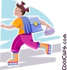 girl rollerblading to school Vector Clip Art graphic
