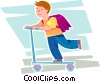 Vector Clip Art picture  of a boy riding his scooter to