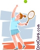Female tennis player server Vector Clipart illustration