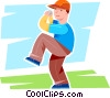Vector Clipart graphic  of a Boy winding up for the pitch