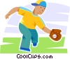 baseball player fielding the ball Vector Clipart illustration