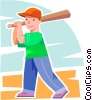 Vector Clip Art image  of a Baseball player coming up to
