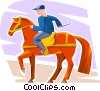 Boy riding a horse Vector Clipart graphic
