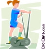 girl working out on a elliptical trainer Vector Clipart illustration