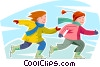 Vector Clip Art image  of a girls skating