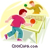 Vector Clip Art graphic  of a boys playing ping pong
