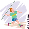 Vector Clip Art graphic  of a javelin thrower