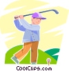 Golfer teeing off Vector Clipart graphic